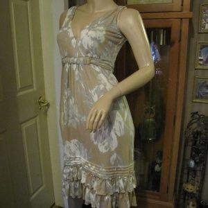 New York & Company Tan, White & Gray Dress XS (S/M